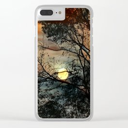Branch and the sun on a background of the sky Clear iPhone Case