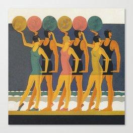 Art Deco Swimwear and Beach Balls Vintage Poster Canvas Print