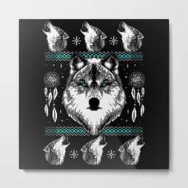 Merry Wolfmas Metal Print