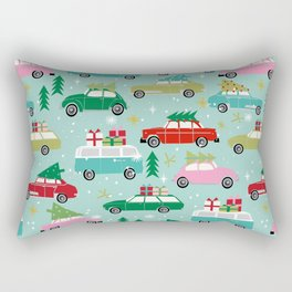 Vintage Christmas cars festive holiday traditions snow winter snowflakes classic car pattern Rectangular Pillow