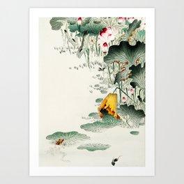 Frog in the swamp  - Vintage Japanese Woodblock Print Art Art Print