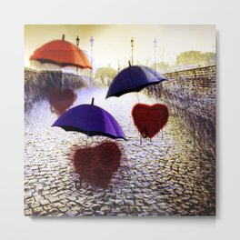 Three Lonely Hearts In the Rain Metal Print