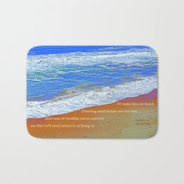"""Waves Of Rincon Beach #2"" with poem: Enduring Ocean Bath Mat"