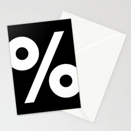 Percent Sign (White & Black) Stationery Cards