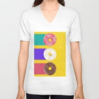donuts V-neck T-shirts featuring Donuts by Danny Ivan