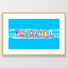 Beach Huts Fun Framed Art Print