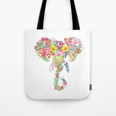 Flower Elephant Watercolor Tote Bag