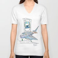 channel V-neck T-shirts featuring The Airplane Channel by Ryan van Gogh