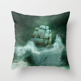 Ship in Storm Throw Pillow