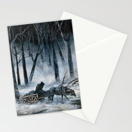 Grim Reaper with Horse in the Woods Stationery Cards