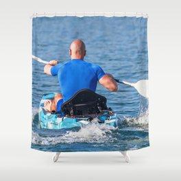 Kayaker Man Paddle Kayak. Kayaking, Paddling, Canoeing. Shower Curtain