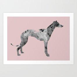 Greyhound in pink Art Print