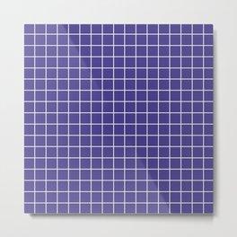 Dark slate blue - blue color - White Lines Grid Pattern Metal Print