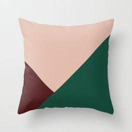 Burgundy and Green Geometric Throw Pillow