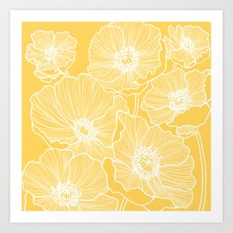 Sunshine Yellow Poppies Art Print