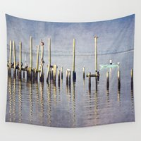 fishing Wall Tapestries featuring Morning Fishing by JMcCool