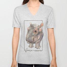 Fiona the Hippo - Bashful Unisex V-Neck