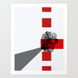 red eyes grey triangle Art Print