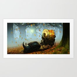 Old man and a beetle Art Print