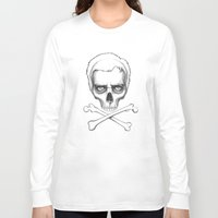 house md Long Sleeve T-shirts featuring Everybody Dies - House MD Skull Crossbones by Olechka