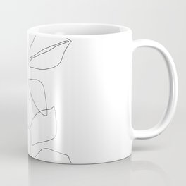 One line minimal plant leaves drawing - Birdie Coffee Mug