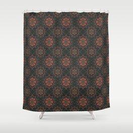 Folk Flower, Vintage Bohemian Floral Pattern Burnt Sienna Shower Curtain