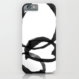 Black and White Round Abstract Shapes Minimalist Ink Painting iPhone Case