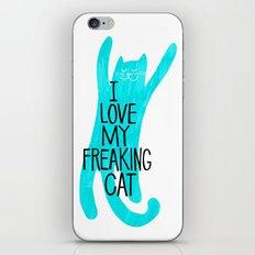 i love my freaking cat - aqua iPhone & iPod Skin