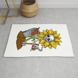 Sunflower Hippie Skeleton  Rug