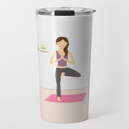 Yoga Girl In Tree Pose Cartoon Illustration Travel Mug