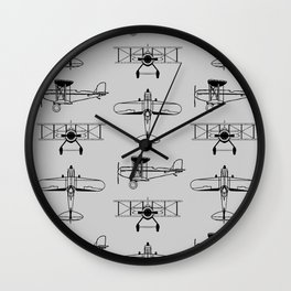 Biplanes // Silver Wall Clock