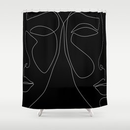 White line couple Shower Curtain