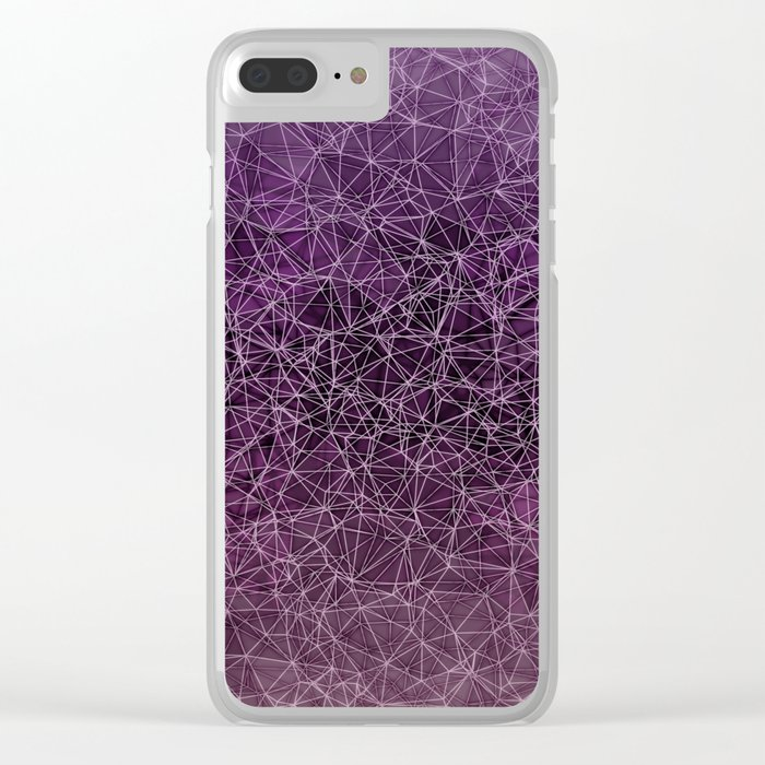 Mesh polygonal purple and pink Clear iPhone Case