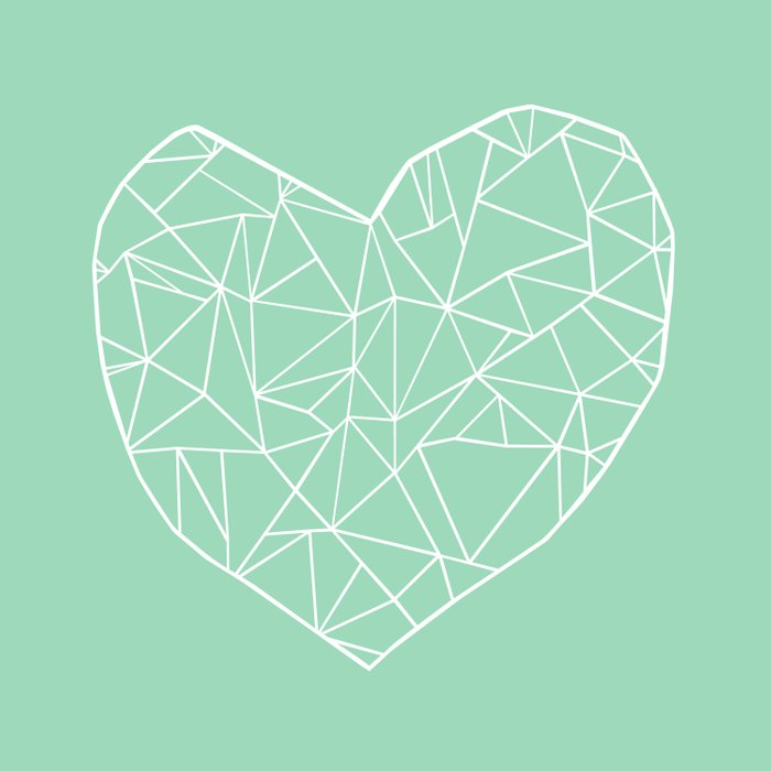 Abstract Heart Mint Duvet Cover