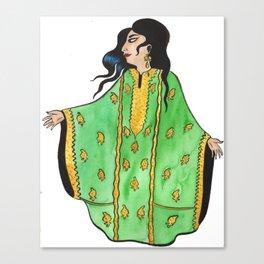 Woman In Green Thobe Canvas Print