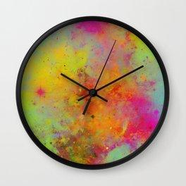 Rainbow Galaxy - Abstract, rainbow coloured space painting Wall Clock