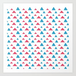 Tribal hand painted blue bright pink watercolor pattern Art Print