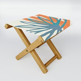 Mid Century Nature Print / Teal and Orange Folding Stool