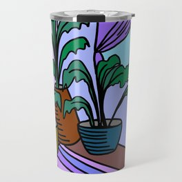 Three Potted Plants in the Corner - Lavender Blue Travel Mug