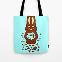 hunting Tote Bags featuring Chocolate Hunting by Matt Wasser
