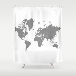 Minimalist World Map Gray on White Background Shower Curtain