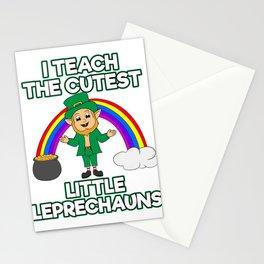 I Teach The Cutest Little Leprechauns St. Patrick's Four-leaf Clover Tee Saying T-shirt Design Irish Stationery Cards