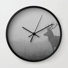 Deer in Grey Fog Wall Clock