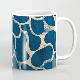 Blue Suede with Rose Gold Beans Pattern Coffee Mug