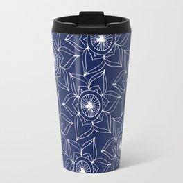 Navy blue white hand drawn floral mandala Travel Mug