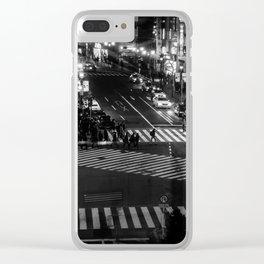 Shibuyacrossing at night - monochrome Clear iPhone Case