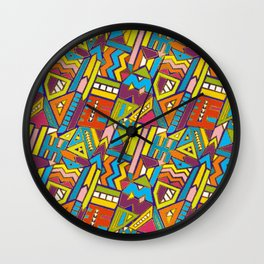 Colorful Geometric African Tribal Pattern Wall Clock