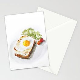 egg toast Stationery Cards