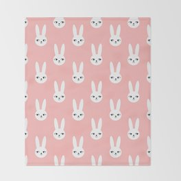 Bunny Rabbit pink and white spring cute character illustration nursery kids minimal floral crown Throw Blanket