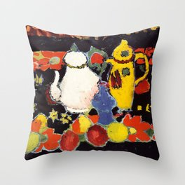"""Alexej von Jawlensky """"Still Life with Yellow Coffee Pot and White Tea Pot"""" 1908 Throw Pillow"""